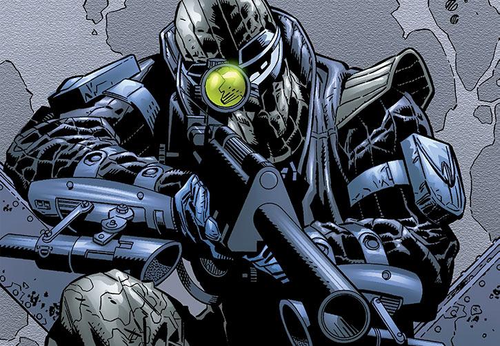 Agent Zero aims a sniper rifle