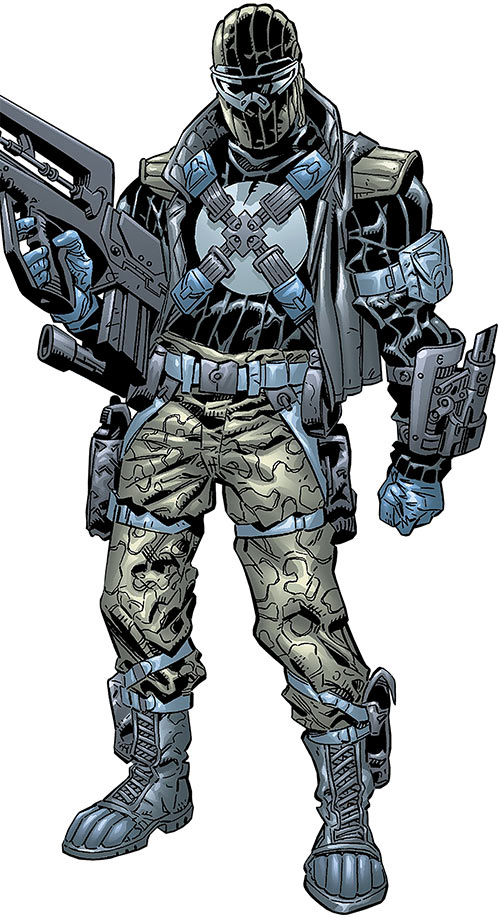 Agent Zero of Weapon X (Wolverine character) (Marvel Comics) with a FAMAS