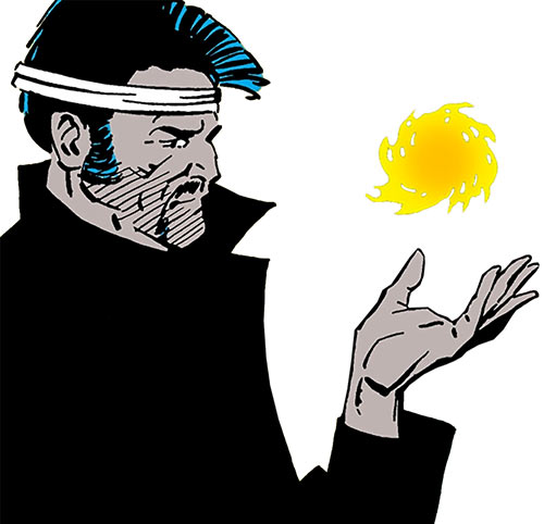 Agni of the Djihad (Suicide Squad enemy) (DC Comics) with a ball of flame hovering in his hand