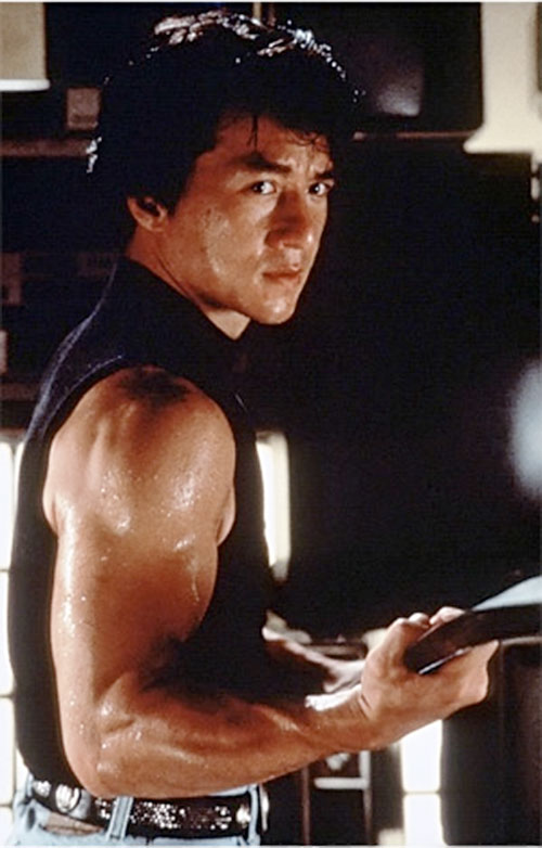 Ah Keung (Jackie Chan in Rumble in the Bronx) armed with a ski