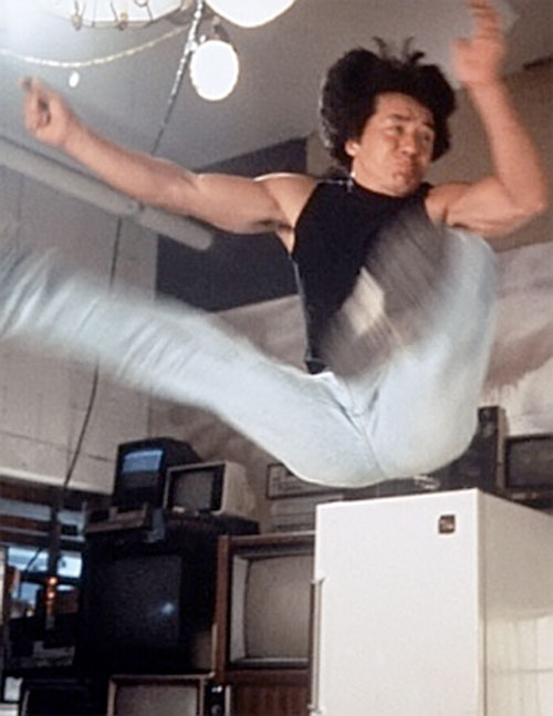 Ah Keung (Jackie Chan in Rumble in the Bronx) leaping up