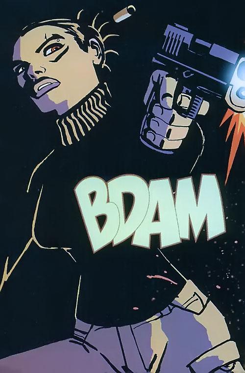 Aisha of the Losers (DC Comics) fire a pistol
