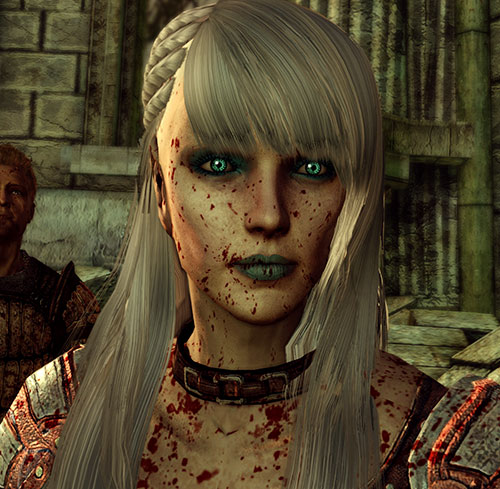 Dragon Age Origins - Alamen Tabris - face closeup blood splatter