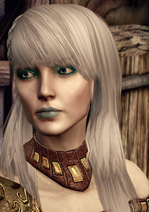 Dragon Age Origins - Alamen Tabris - face closeup with necklace