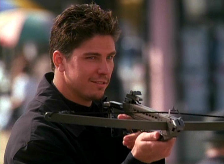 Alec the Darklighter (Michael Trucco in Charmed) with crossbow at the ready