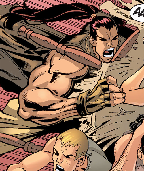 Aleksandr Creote (Savant partner) (Birds of Prey character) (DC Comics) using a table to charge