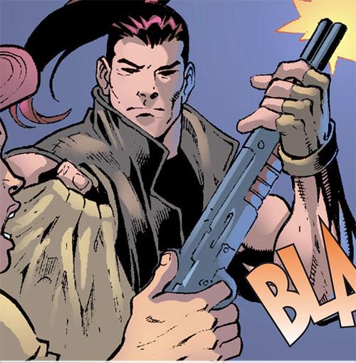 Aleksandr Creote (Savant partner) (Birds of Prey character) (DC Comics) with a shotgun