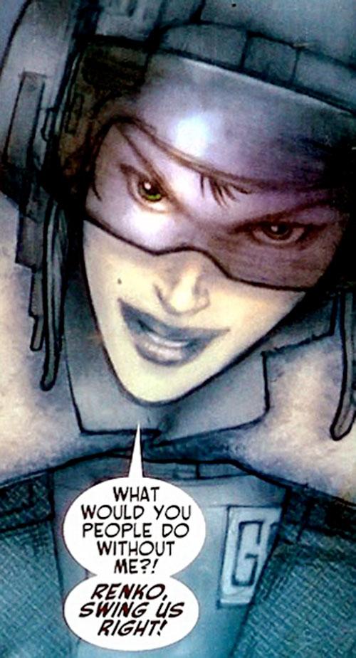 Alexandra Goncharova (Red Star) (Image Comics) grinning with a pilot helmet