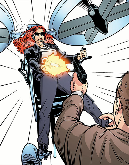 "Alice April (Global Frequency comics) with the Solosoar ""jetpack"""
