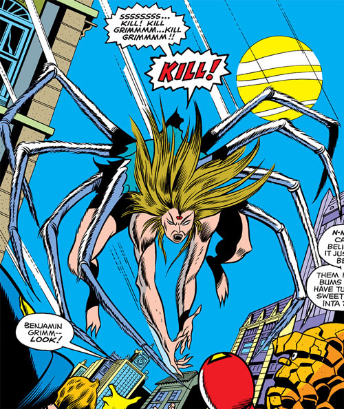 Alicia Masters as a spider-monster (Marvel Comics) - leaping