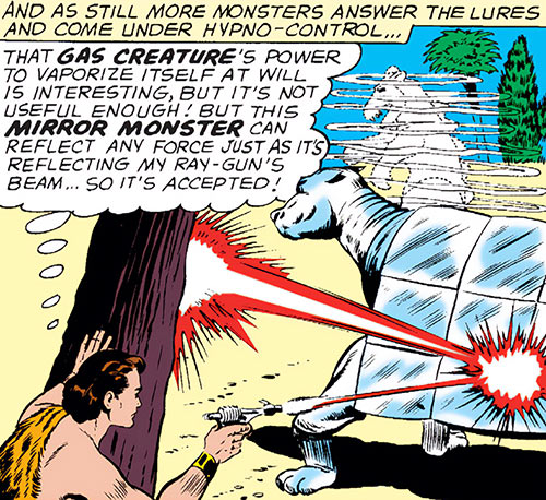Monster Master shooting a Mirror Monster (Legion of Super-Heroes) (DC Comics)