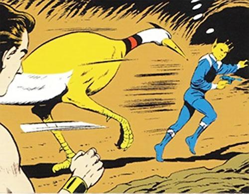 Omni-Beast running after Chameleon Boy (Legion of Super-Heroes) (DC Comics)