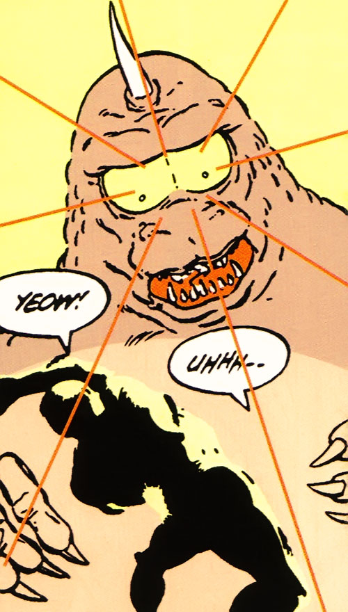 Flasher Beast blinding a man (Legion of Super-Heroes) (DC Comics)