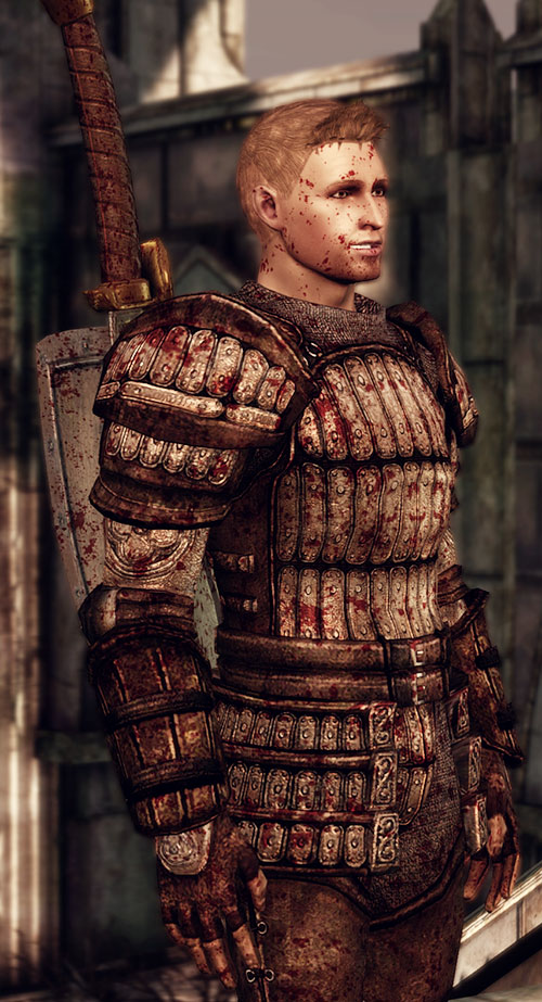 Alistair (Dragon Age: Origins) side view after battle