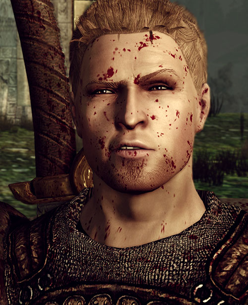 Alistair (Dragon Age: Origins) face closeup blood splattered