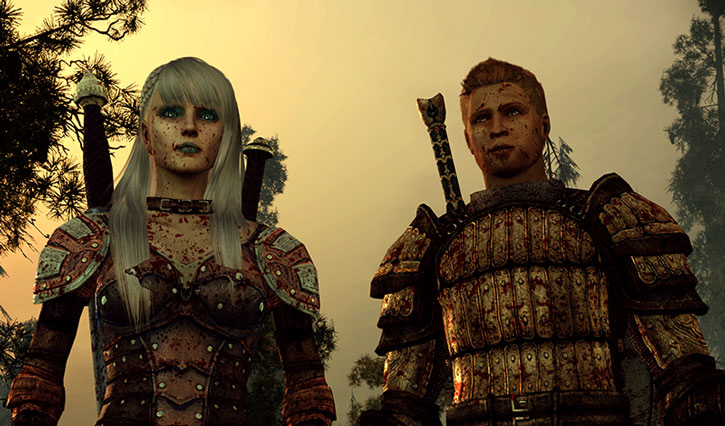 Alistair and Alamen stand blood-splattered