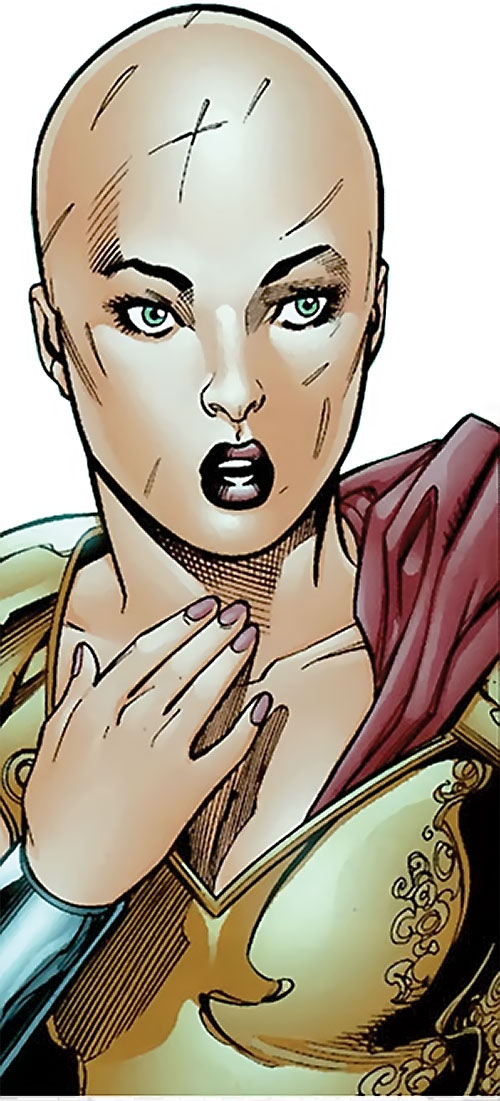 Alkyone (Wonder Woman character) (DC Comics) with a shaved and scarred head