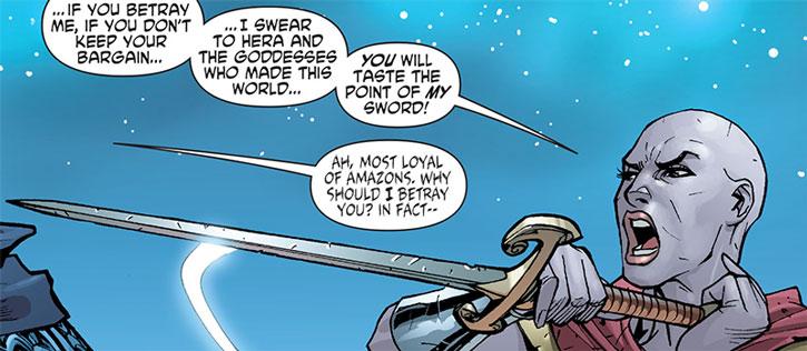 Alkyone facing Ares with sword