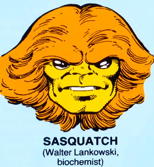 Sasquatch of Alpha Flight (Marvel Comics) mugshot on blue background
