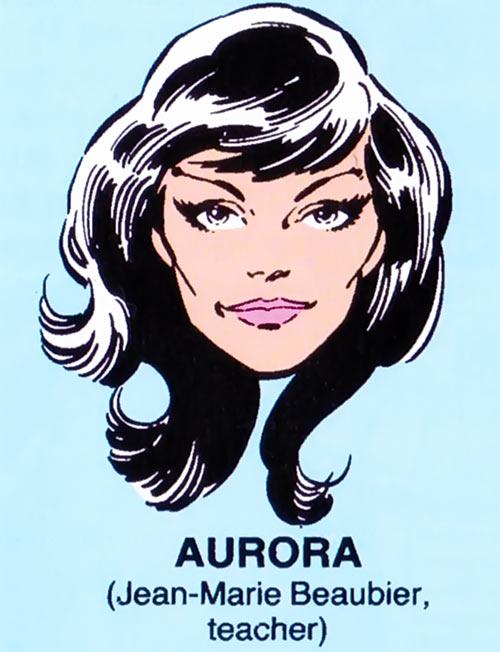 Aurora of Alpha Flight (Marvel Comics) mugshot on blue background
