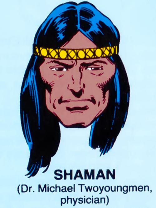 Shaman of Alpha Flight (Marvel Comics) mugshot on blue background