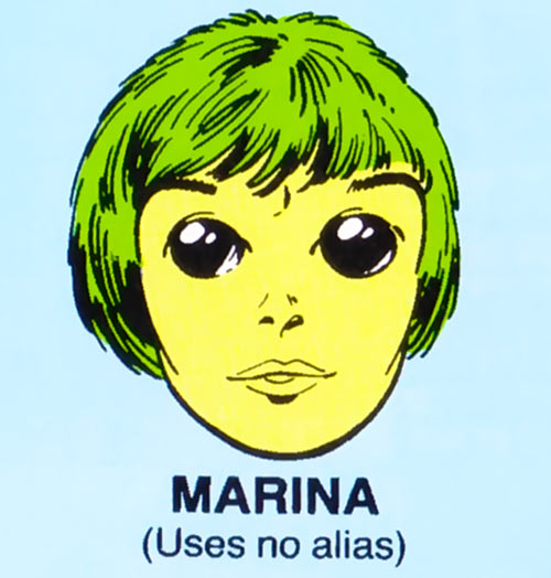 Marina of Alpha Flight (Marvel Comics) mugshot on blue background
