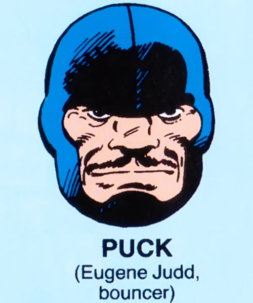 Puck of Alpha Flight (Marvel Comics) mugshot on blue background