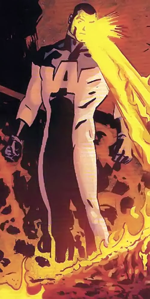 Alpha-One the Mighty (DC Comics) burning things with heat vision