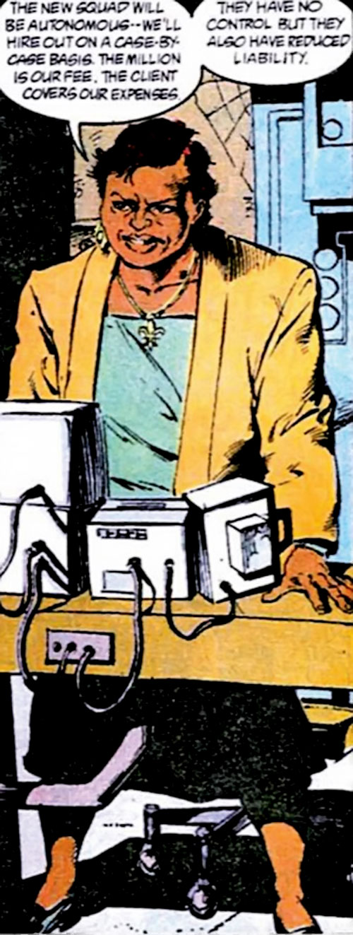 Amanda Waller of the Suicide Squad (DC Comics) and surveillance screens