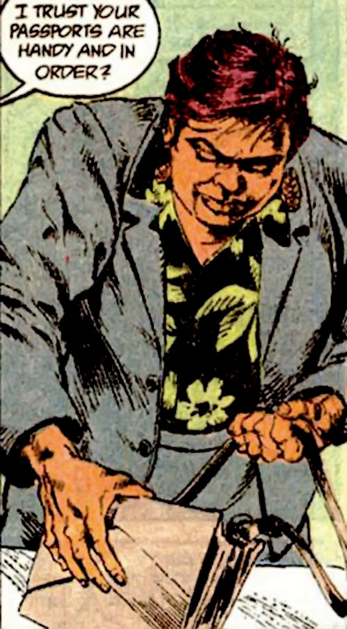 Amanda Waller of the Suicide Squad (DC Comics) in a greenish gray suit