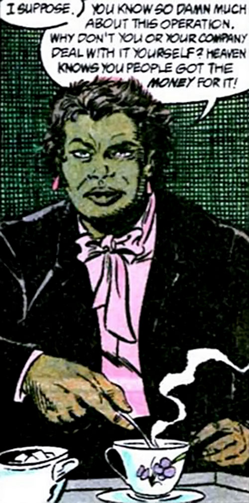 Amanda Waller of the Suicide Squad (DC Comics) having tea