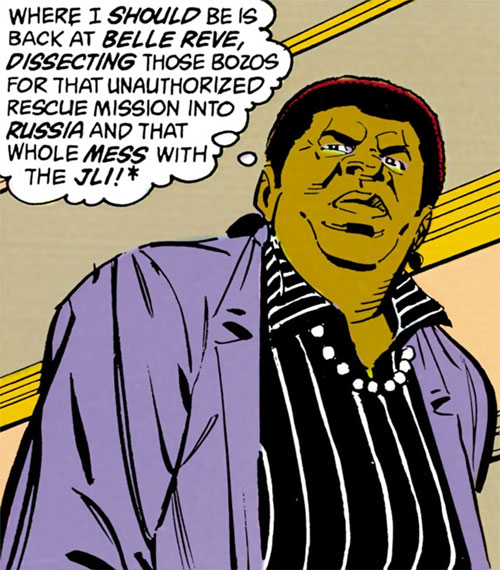 Amanda Waller of the Suicide Squad (DC Comics) is grumpy