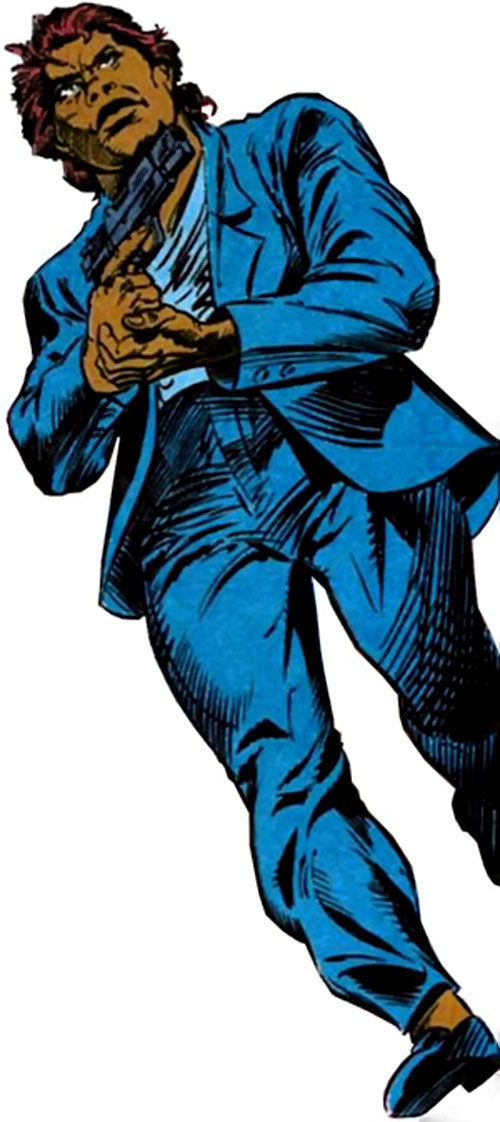 Amanda Waller of the Suicide Squad (DC Comics) in a blue pantsuit with a pistol