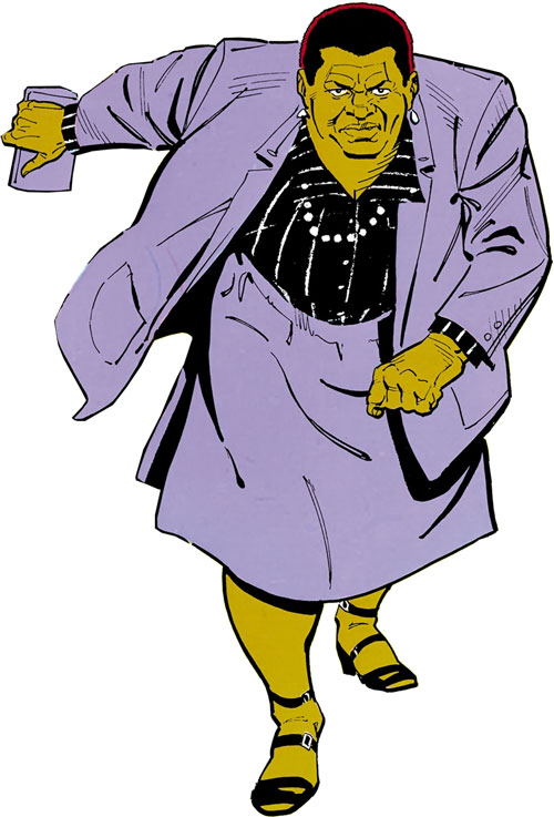 Amanda Waller of the Suicide Squad (DC Comics) in a purple suit