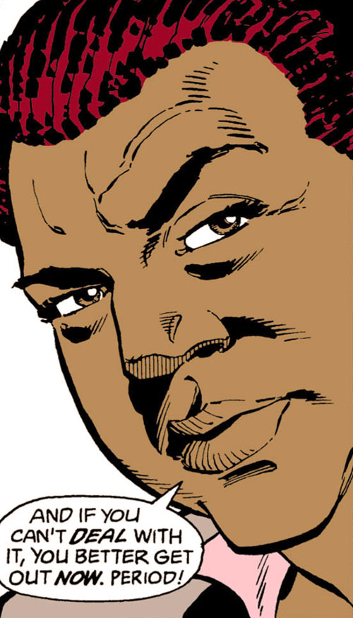 Amanda Waller of the Suicide Squad (DC Comics) squinting
