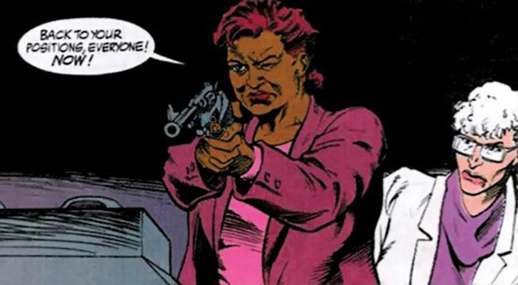 Amanda Waller aiming revolver