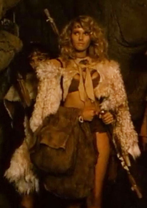 Amethea (Lana Clarkson in Barbarian Queen) fur cloak and large saddle bags