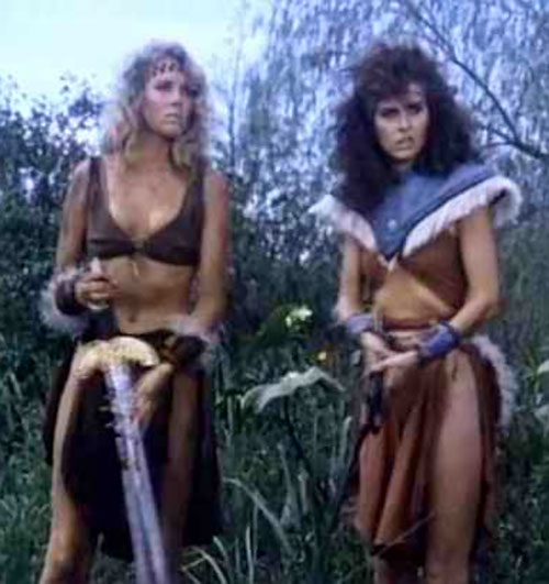 Amethea (Lana Clarkson in Barbarian Queen) and another barbarian woman