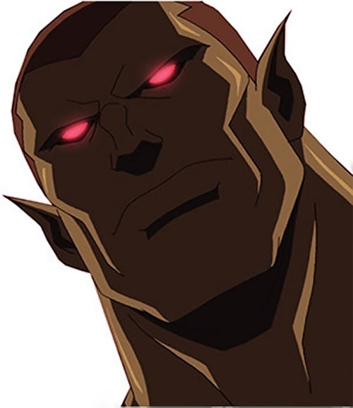 Amazo (Young Justice animated series) face closeup eyes glowing