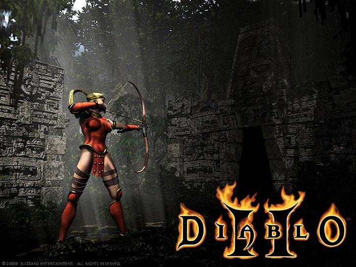 The Amazon from Diablo II shooting her bow