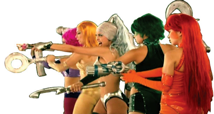 The Amazonistas ready for battle, from the Zsa Zsa Zaturnnah movie
