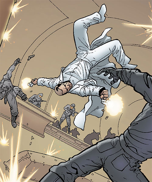 Ambrose Chase of Planetary (Wildstorm Comics) acrobatically fighting soldiers