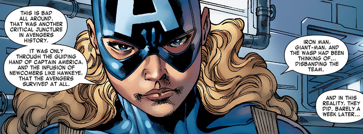 American Dream (Marvel Comics MC2) face closeup grim history