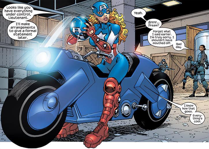 American Dream (Marvel Comics MC2) astride bike