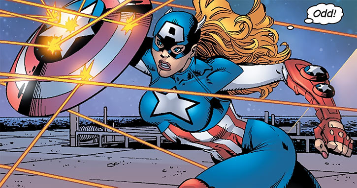 American Dream (Marvel Comics MC2) blocking shots with shield
