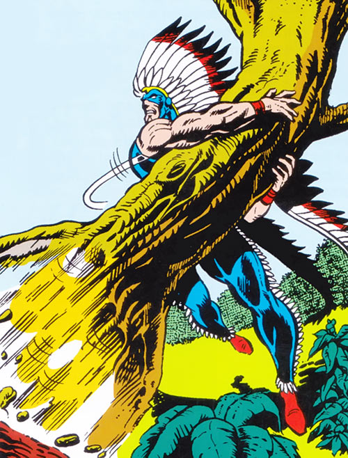 American Eagle (Marvel Comics) rips a tree off the ground