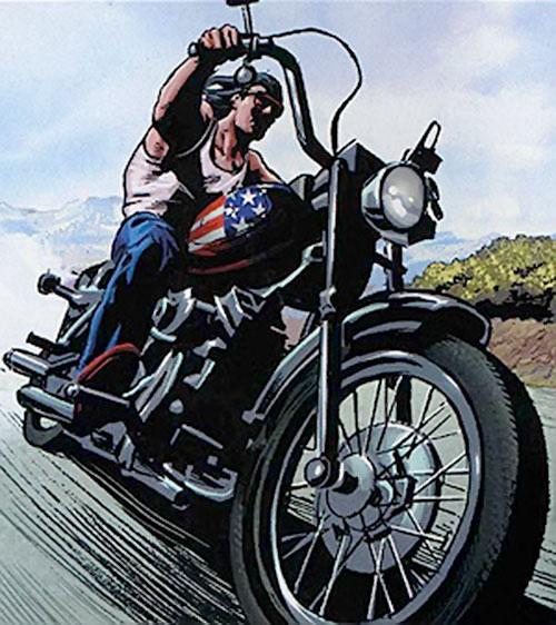 American Eagle (Marvel Comics) riding his Harley