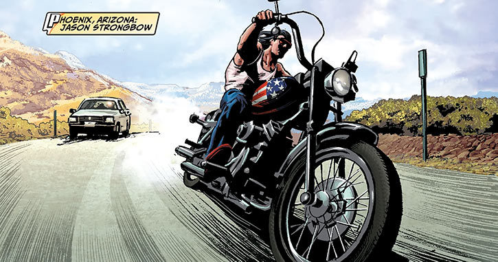 American Eagle (Marvel Comics) driving Harley road