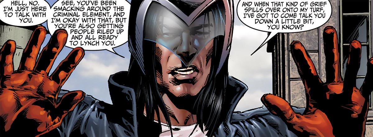 American Eagle (Marvel Comics) closeup with helmet