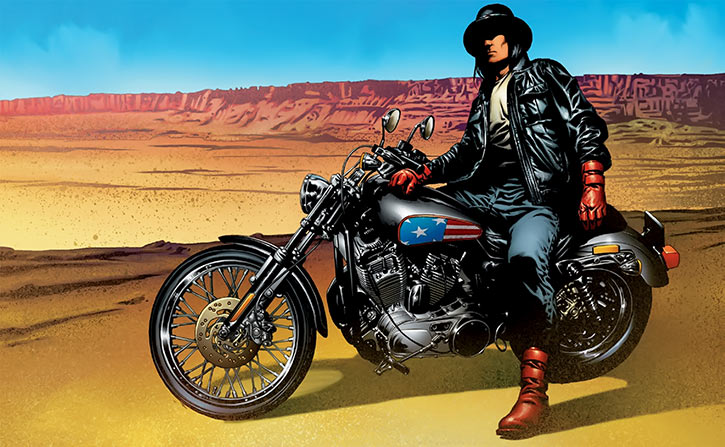 American Eagle (Marvel Comics) with Harley and cool hat